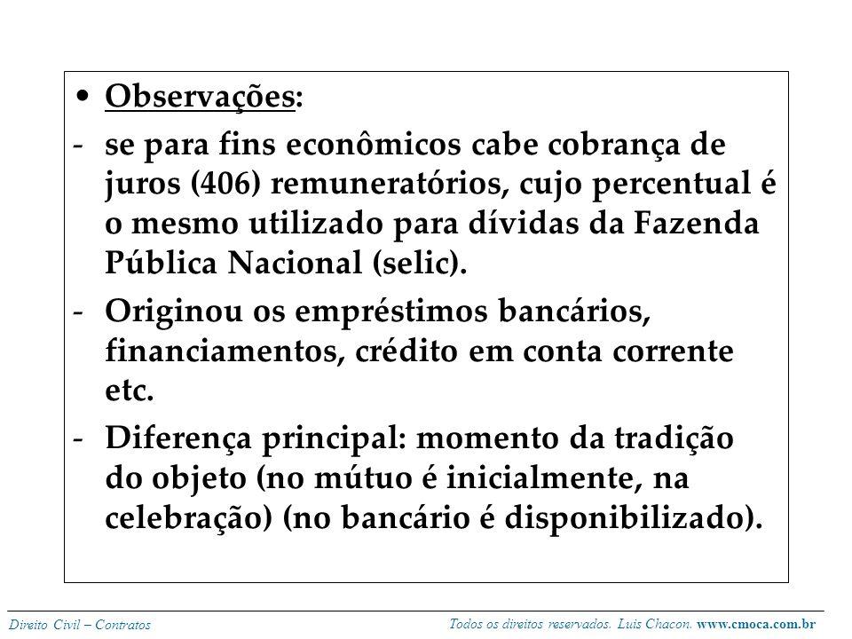 Todos os direitos reservados. Luis Chacon. www.cmoca.com.br Direito Civil – Contratos Obrigações do mutuante: -não há obrigação de reembolso com despe
