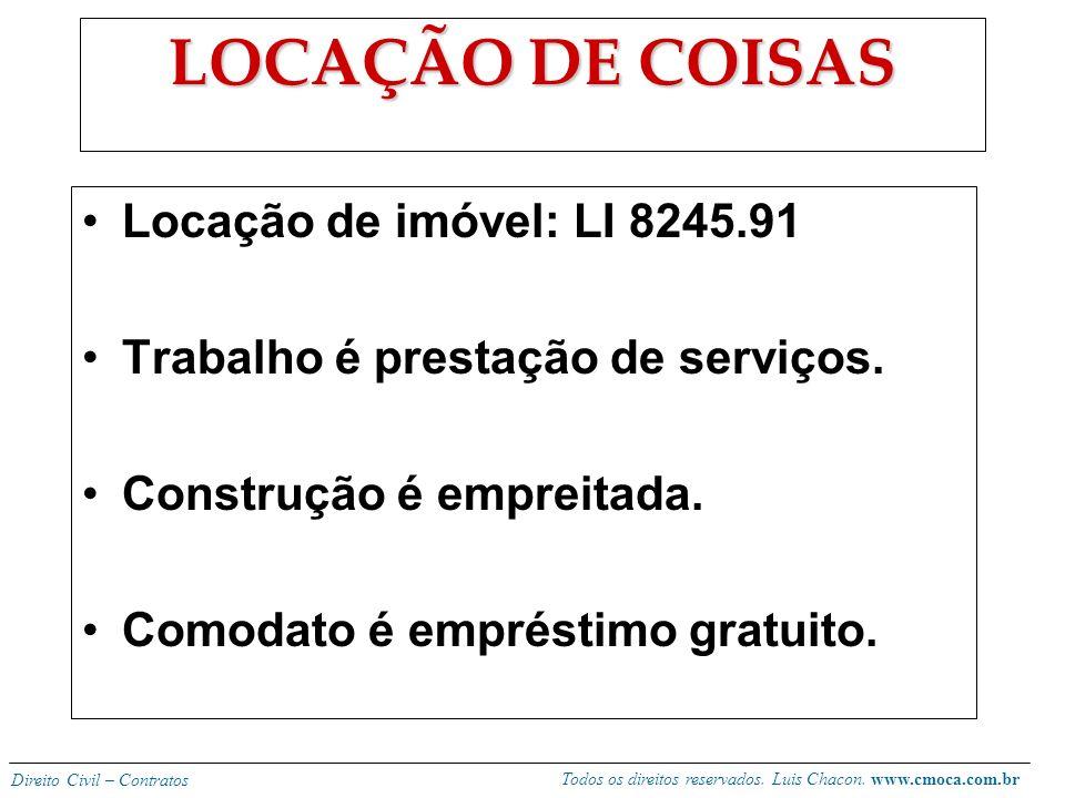 Todos os direitos reservados. Luis Chacon. www.cmoca.com.br Direito Civil – Contratos Observações: -se para fins econômicos cabe cobrança de juros (40