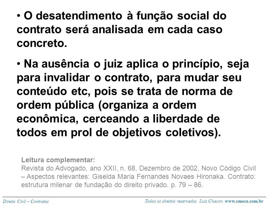 Todos os direitos reservados. Luis Chacon. www.cmoca.com.br Direito Civil – Contratos Segundo Caio Mário (Instituições, V III) o contrato ainda existe