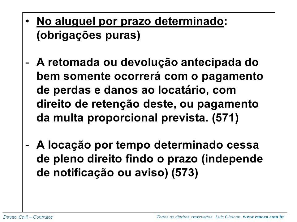 Todos os direitos reservados. Luis Chacon. www.cmoca.com.br Direito Civil – Contratos HIPÓTESES DE MODIFICAÇÃO OU TÉRMINO DA LOCAÇÃO Locatário pode pe