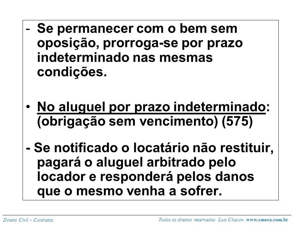 Todos os direitos reservados. Luis Chacon. www.cmoca.com.br Direito Civil – Contratos No aluguel por prazo determinado: (obrigações puras) -A retomada