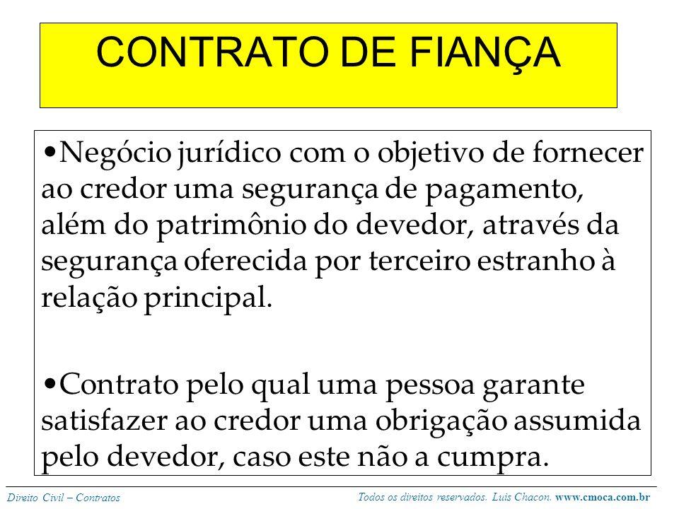 Todos os direitos reservados. Luis Chacon. www.cmoca.com.br Direito Civil – Contratos Direito de retenção: -O locatário pode reter a coisa no caso de