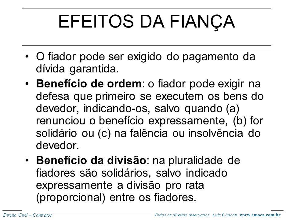 Todos os direitos reservados. Luis Chacon. www.cmoca.com.br Direito Civil – Contratos A fiança não pode ultrapassar o limite do débito, sob pena de re
