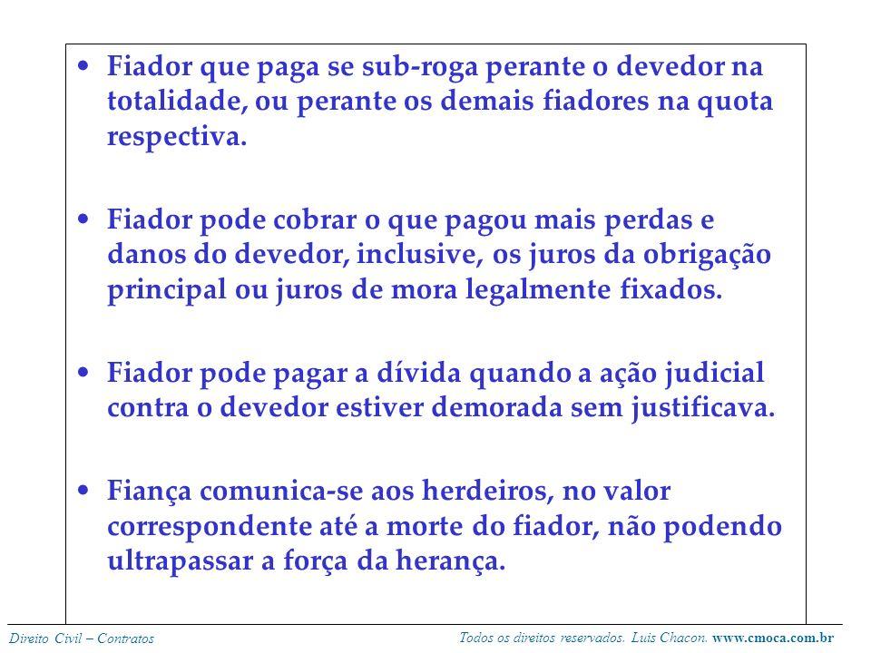 Todos os direitos reservados. Luis Chacon. www.cmoca.com.br Direito Civil – Contratos EFEITOS DA FIANÇA O fiador pode ser exigido do pagamento da dívi