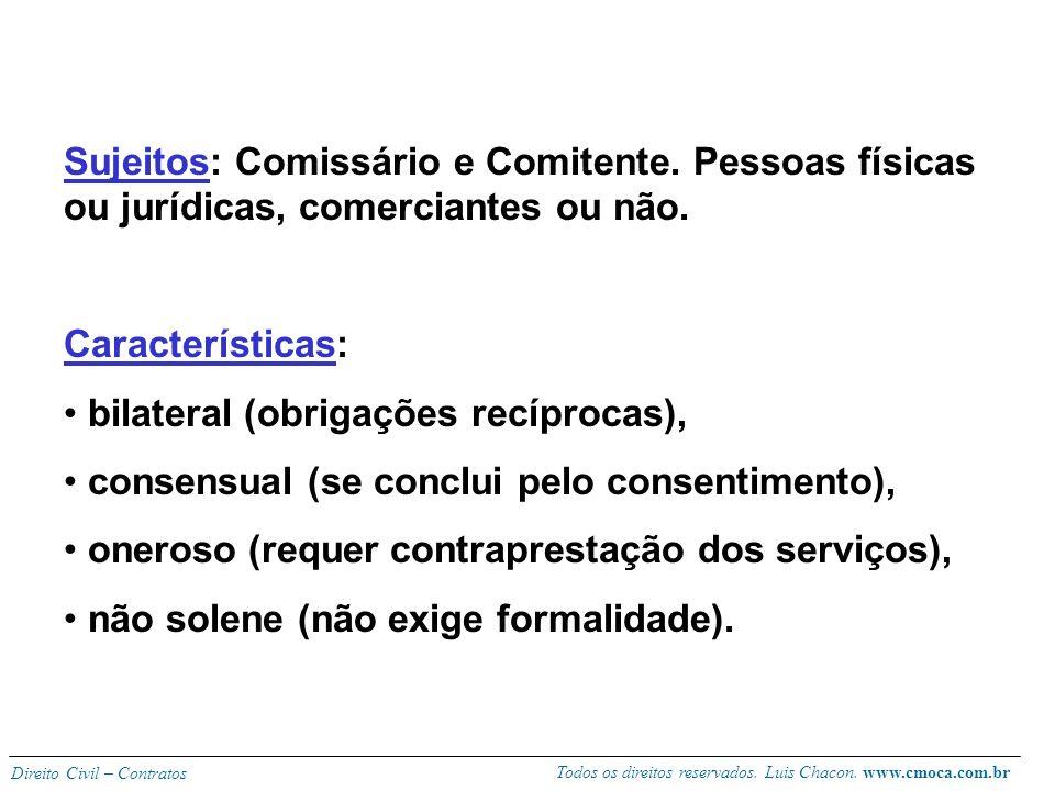 Todos os direitos reservados. Luis Chacon. www.cmoca.com.br Direito Civil – Contratos CONTRATO DE COMISSÃO (artigos 693 a 709 - CC) Conceito: contrato