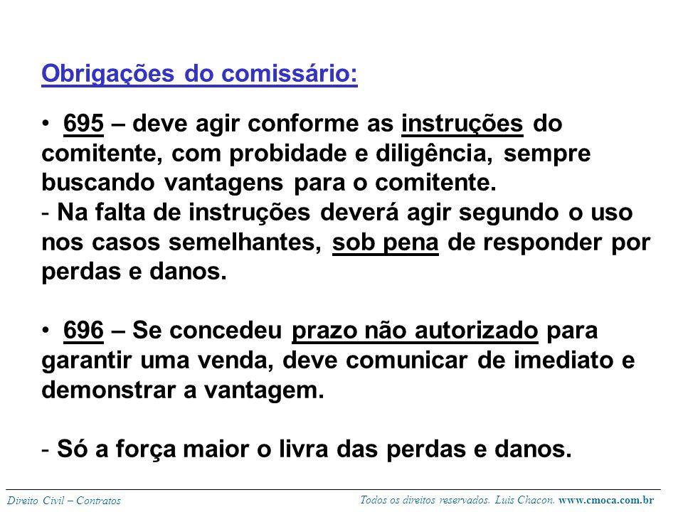 Todos os direitos reservados. Luis Chacon. www.cmoca.com.br Direito Civil – Contratos Comissão (remuneração do comissário): Geralmente é fixada em per