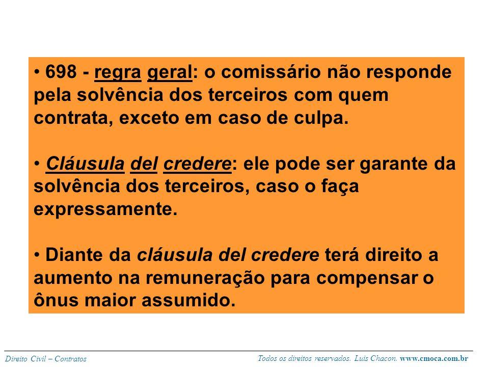 Todos os direitos reservados. Luis Chacon. www.cmoca.com.br Direito Civil – Contratos Obrigações do comissário: 695 – deve agir conforme as instruções