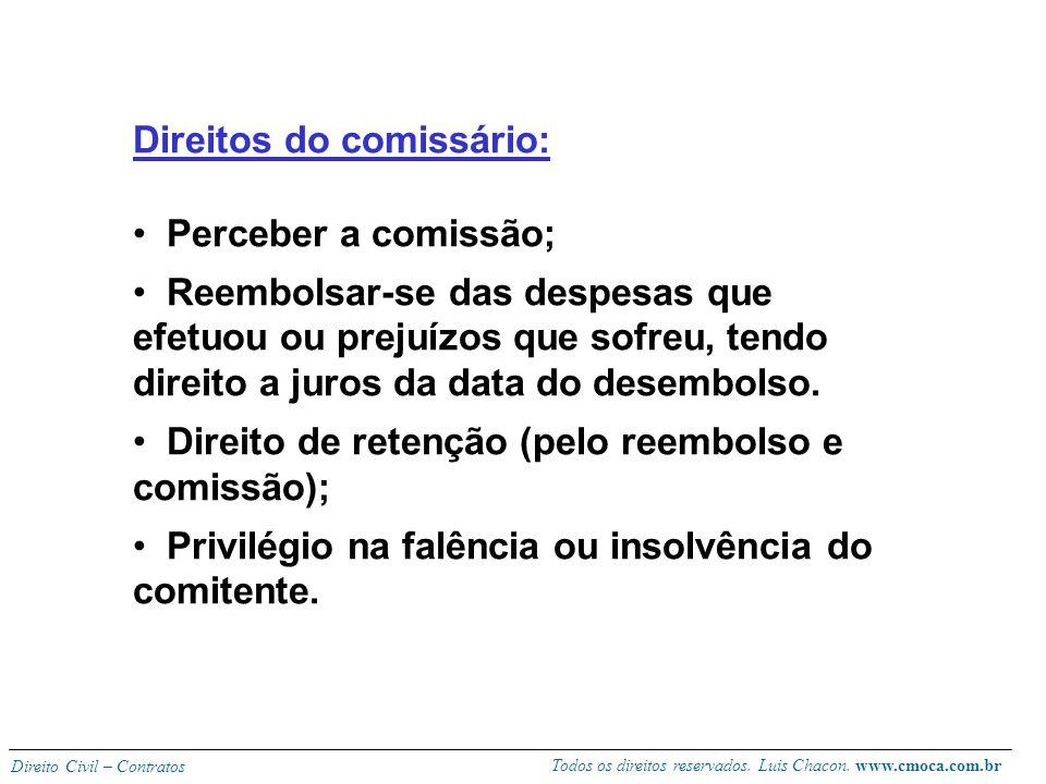Todos os direitos reservados. Luis Chacon. www.cmoca.com.br Direito Civil – Contratos 698 - regra geral: o comissário não responde pela solvência dos
