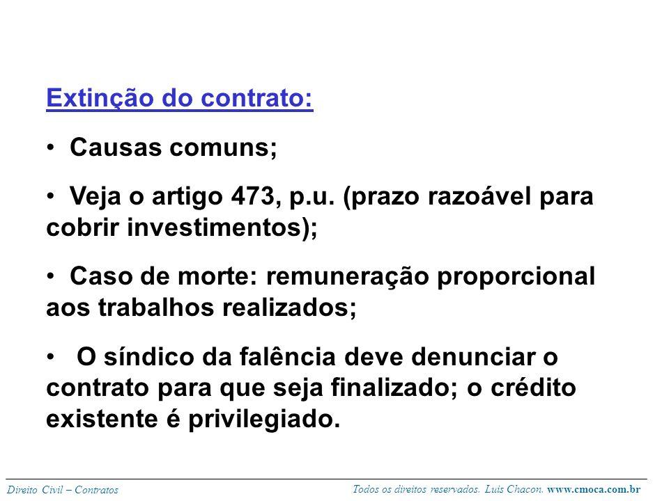 Todos os direitos reservados. Luis Chacon. www.cmoca.com.br Direito Civil – Contratos Vantagens do contrato: Dispensa do comissário exibir documento q