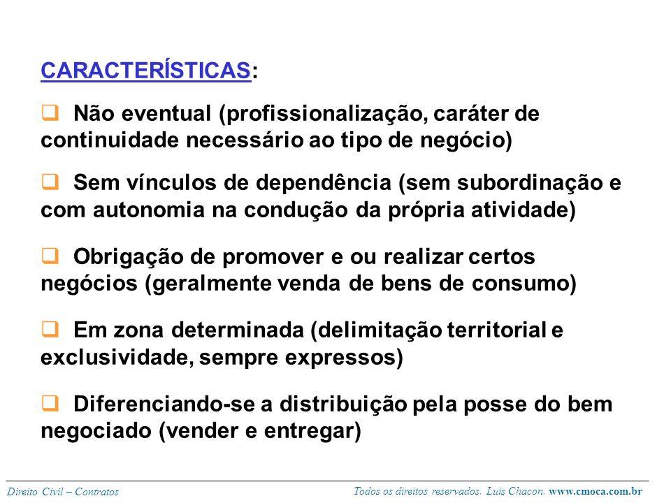 Todos os direitos reservados. Luis Chacon. www.cmoca.com.br Direito Civil – Contratos Conceito (710): O agente ou o distribuidor é um colaborador que,