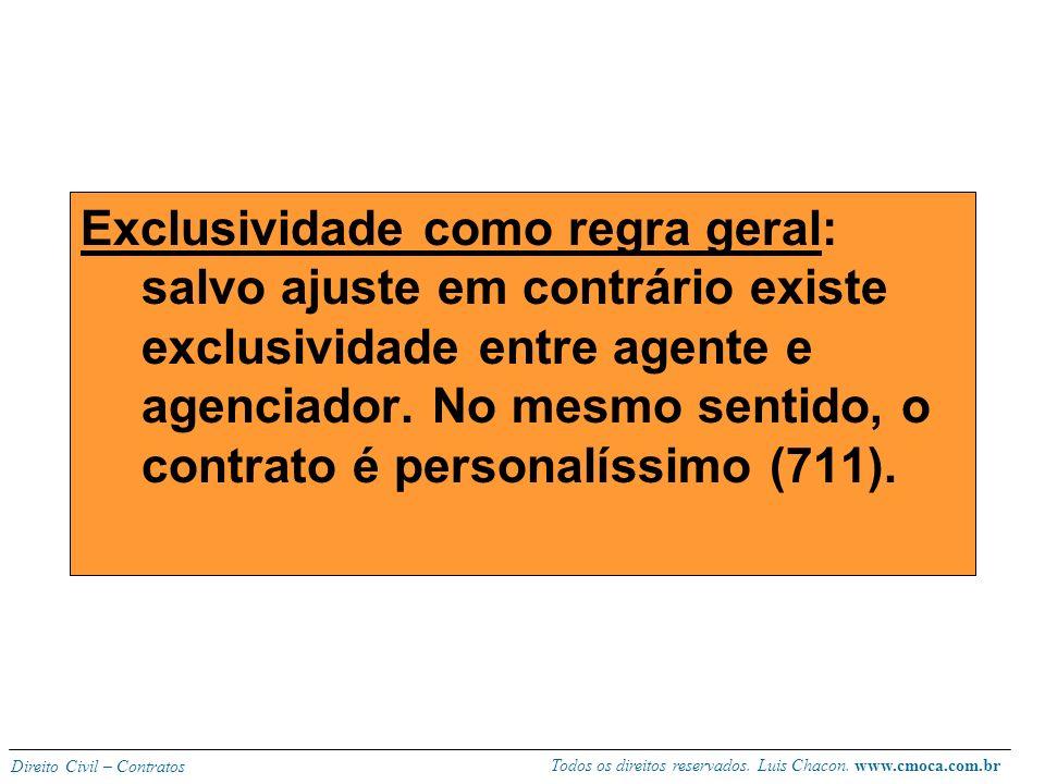 Todos os direitos reservados. Luis Chacon. www.cmoca.com.br Direito Civil – Contratos CARACTERÍSTICAS: Não eventual (profissionalização, caráter de co