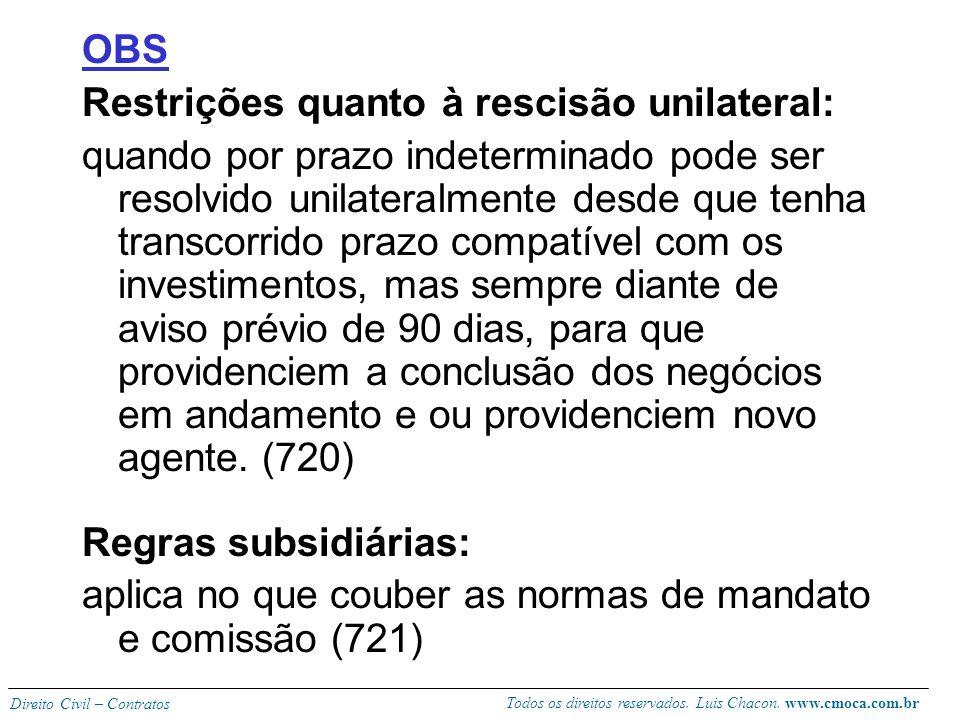 Todos os direitos reservados. Luis Chacon. www.cmoca.com.br Direito Civil – Contratos Rescisão contratual: A dispensa (ou melhor, distrato) do agente