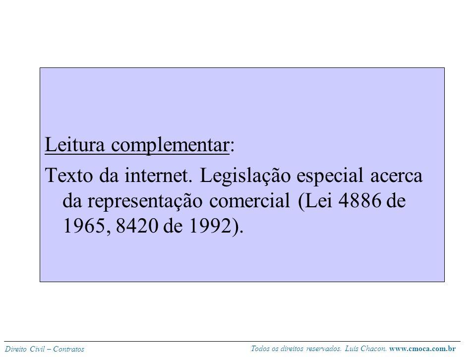 Todos os direitos reservados. Luis Chacon. www.cmoca.com.br Direito Civil – Contratos Diferença com o comissário: o agente ou distribuidor age em nome