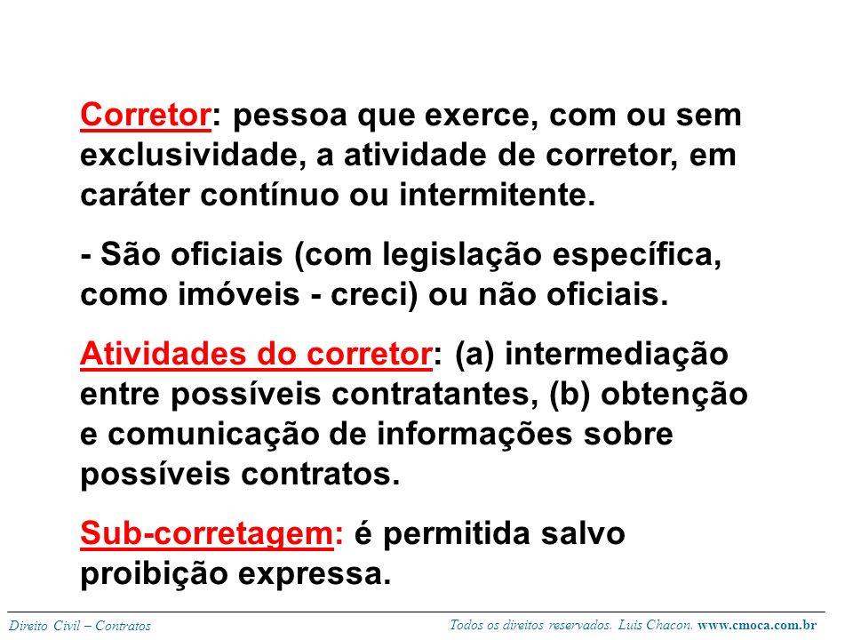 Todos os direitos reservados. Luis Chacon. www.cmoca.com.br Direito Civil – Contratos Forma é consensual: não exige formalidade, provando-se por qualq