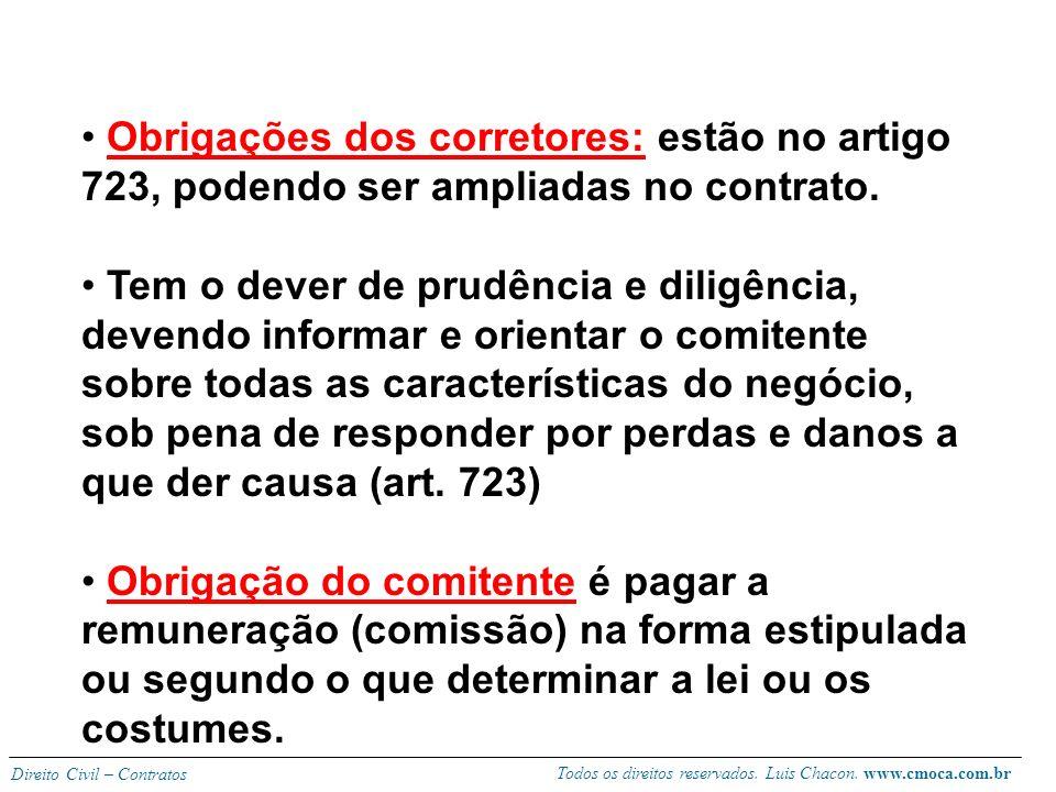 Todos os direitos reservados. Luis Chacon. www.cmoca.com.br Direito Civil – Contratos Corretor: pessoa que exerce, com ou sem exclusividade, a ativida