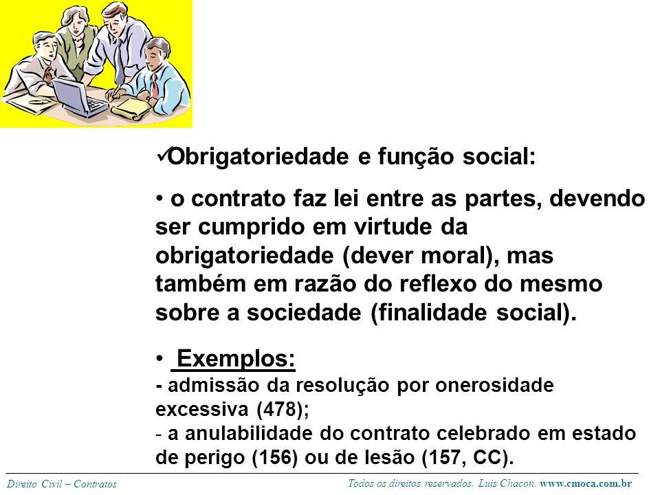 Todos os direitos reservados. Luis Chacon. www.cmoca.com.br Direito Civil – Contratos Garantia de cumprimento (coação estatal): - O ordenamento oferec