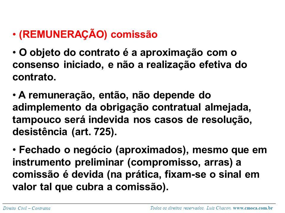 Todos os direitos reservados. Luis Chacon. www.cmoca.com.br Direito Civil – Contratos Obrigações dos corretores: estão no artigo 723, podendo ser ampl