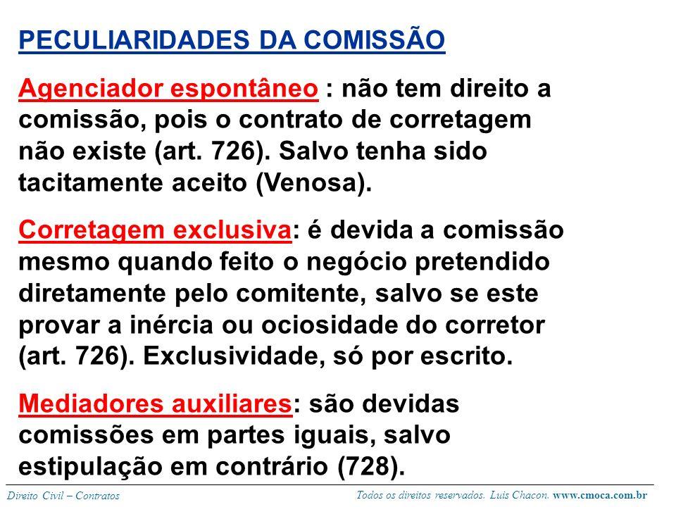 Todos os direitos reservados. Luis Chacon. www.cmoca.com.br Direito Civil – Contratos (REMUNERAÇÃO) comissão O objeto do contrato é a aproximação com
