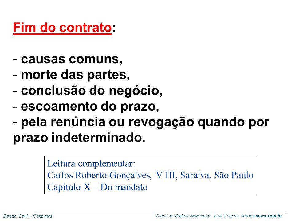 Todos os direitos reservados. Luis Chacon. www.cmoca.com.br Direito Civil – Contratos Culpa do comitente: será devida a comissão se o corretor provar