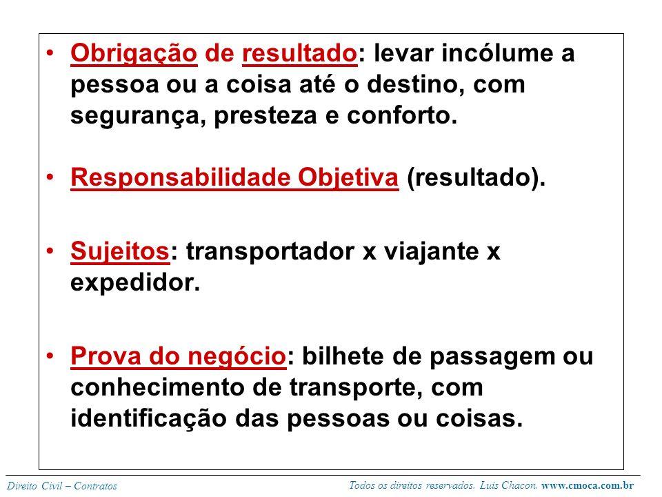 Todos os direitos reservados. Luis Chacon. www.cmoca.com.br Direito Civil – Contratos CONTRATO DE TRANSPORTE (730 – 756 CC) Conceito: 730 – alguém se