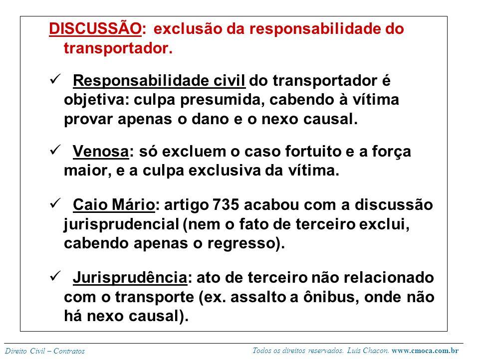 Todos os direitos reservados. Luis Chacon. www.cmoca.com.br Direito Civil – Contratos Regras gerais: 730 – conceito. 731 – transporte como serviço púb