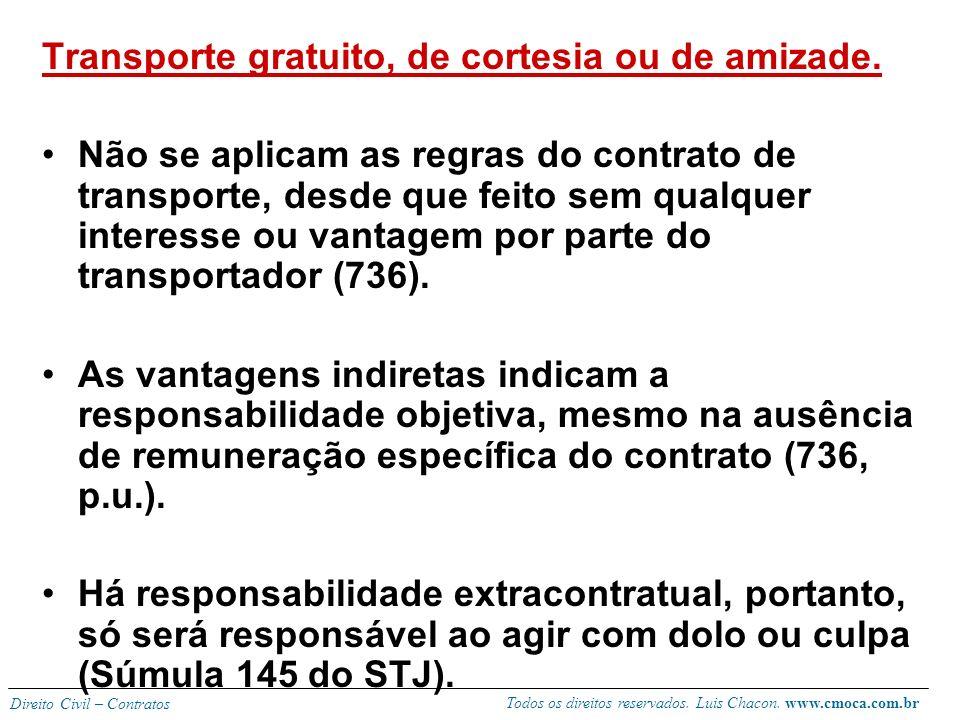 Todos os direitos reservados. Luis Chacon. www.cmoca.com.br Direito Civil – Contratos TRANSPORTE DE PESSOAS (734 – 742 CC) Responsabilidade objetiva s