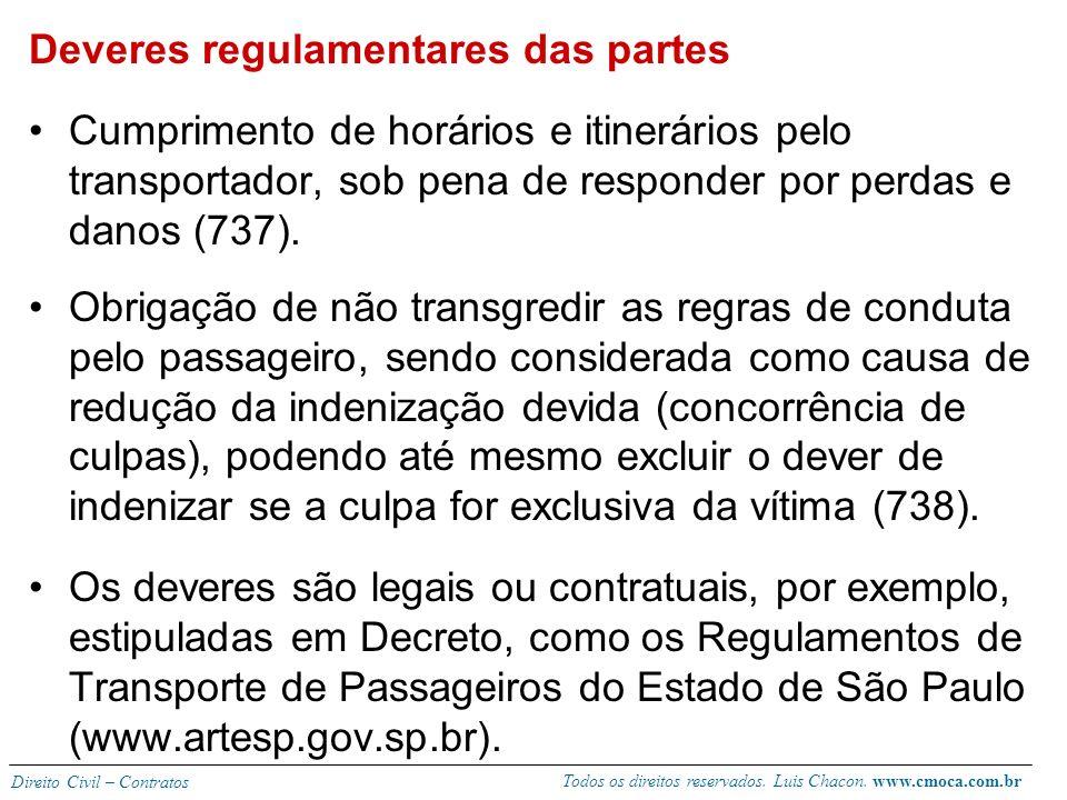 Todos os direitos reservados. Luis Chacon. www.cmoca.com.br Direito Civil – Contratos Transporte gratuito, de cortesia ou de amizade. Não se aplicam a