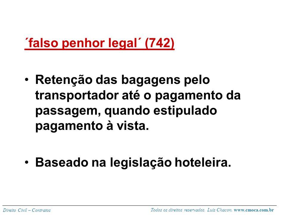 Todos os direitos reservados. Luis Chacon. www.cmoca.com.br Direito Civil – Contratos Interrupção do transporte Obrigação de concluir o transporte mes