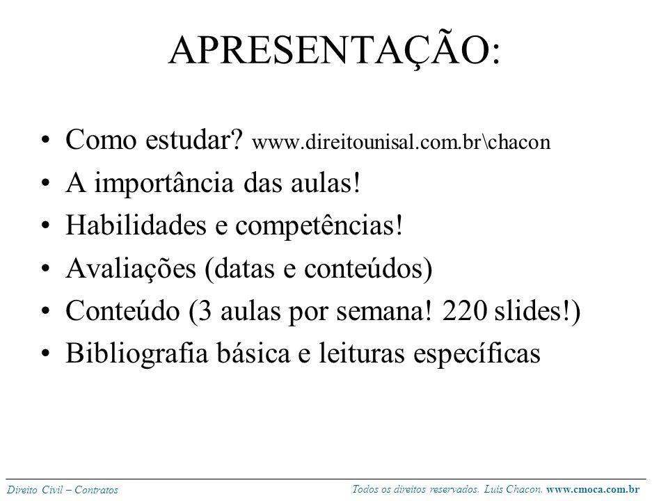 Todos os direitos reservados. Luis Chacon. www.cmoca.com.br Direito Civil – Contratos Professor Luis Fernando Rabelo Chacon Advogado, Mestre em Direit