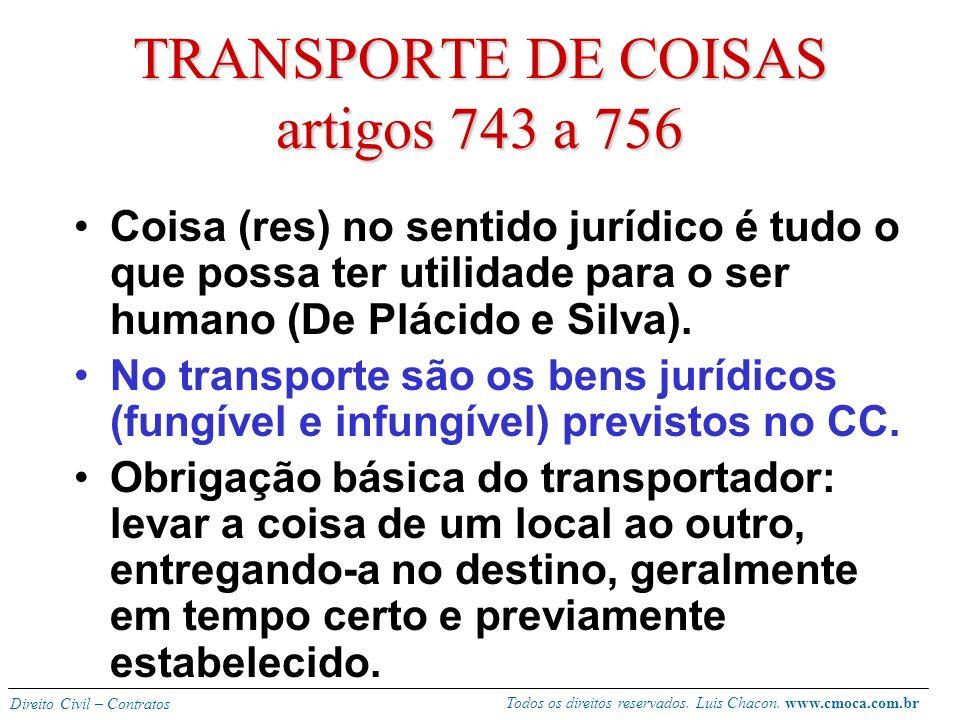 Todos os direitos reservados. Luis Chacon. www.cmoca.com.br Direito Civil – Contratos ´falso penhor legal´ (742) Retenção das bagagens pelo transporta