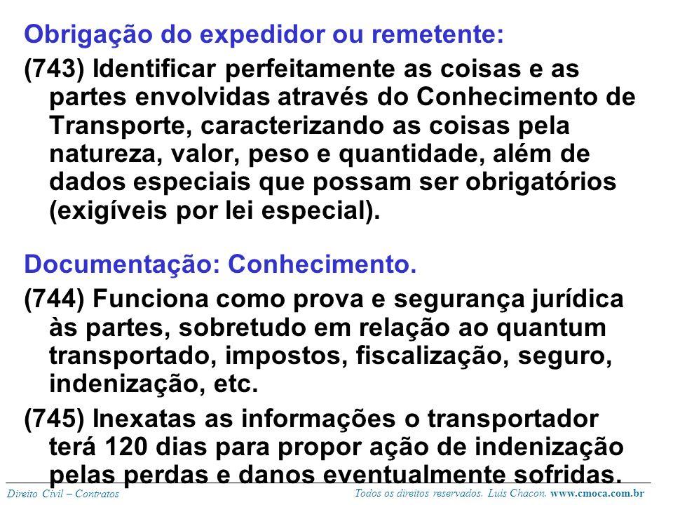 Todos os direitos reservados. Luis Chacon. www.cmoca.com.br Direito Civil – Contratos TRANSPORTE DE COISAS artigos 743 a 756 Coisa (res) no sentido ju
