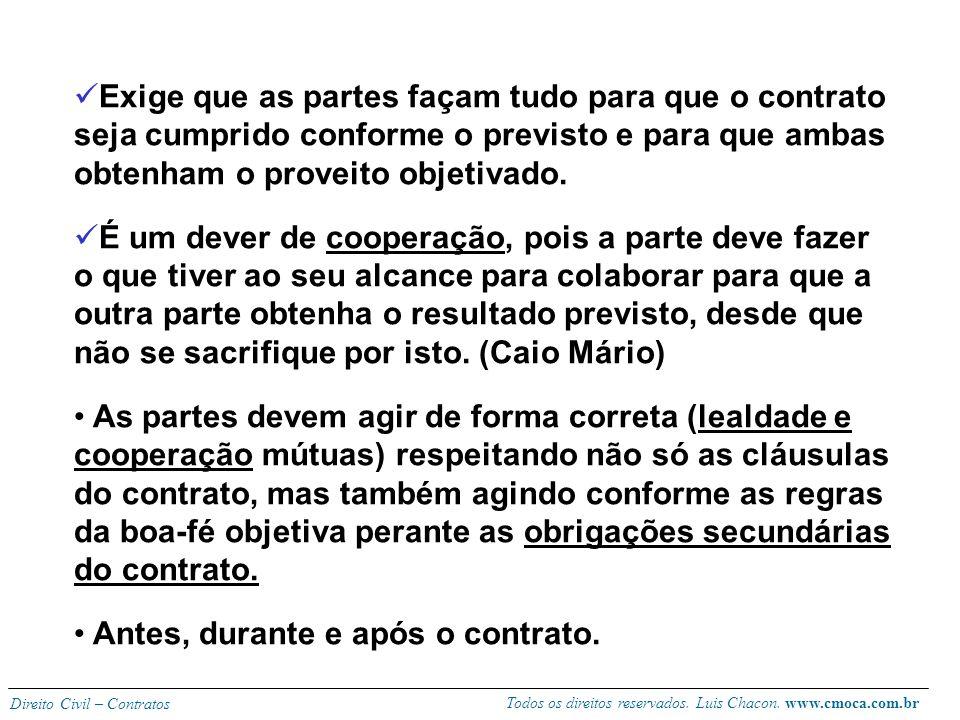 Todos os direitos reservados. Luis Chacon. www.cmoca.com.br Direito Civil – Contratos - Sobre a boa-fé objetiva (art. 422): Não diz respeito ao estado