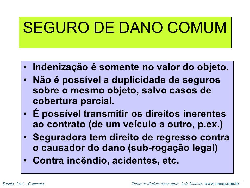 Todos os direitos reservados. Luis Chacon. www.cmoca.com.br Direito Civil – Contratos CLASSIFICAÇÃO SEGURO DE DANO –COMUM –RESPONSABILIDADE CIVIL SEGU