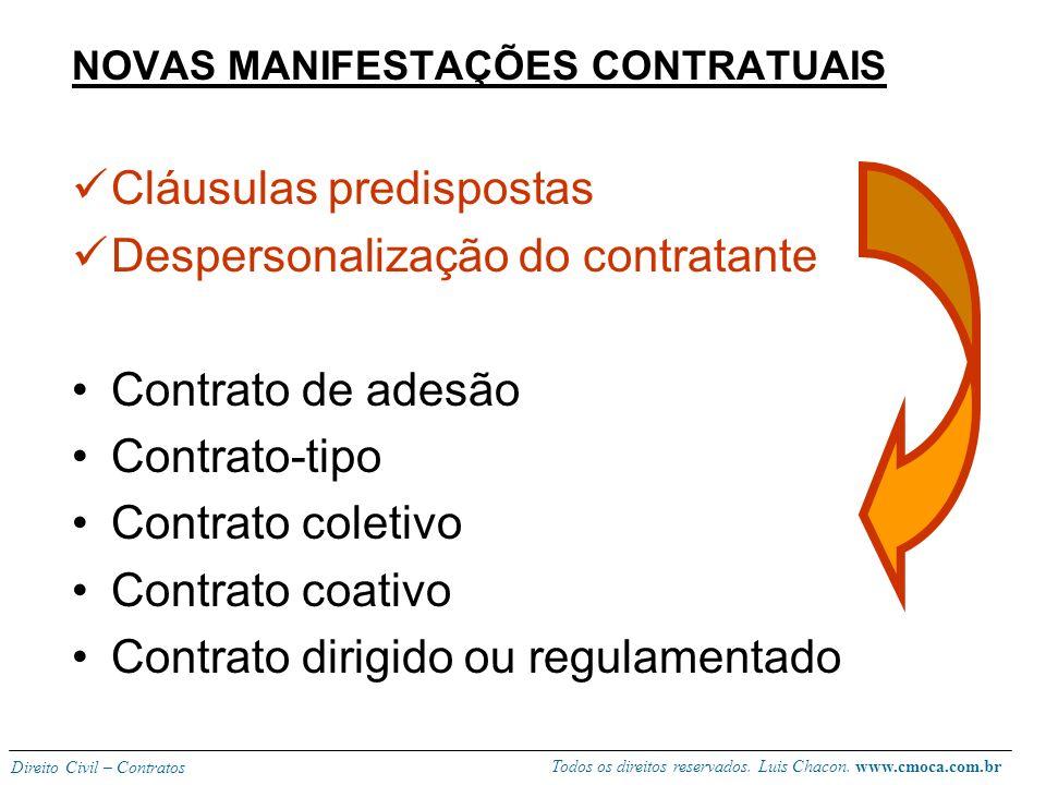 Todos os direitos reservados. Luis Chacon. www.cmoca.com.br Direito Civil – Contratos 6) Novas modalidades do contrato moderno Na sociedade de consumo