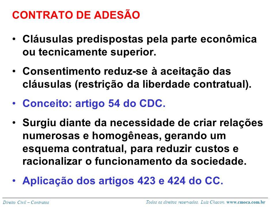 Todos os direitos reservados. Luis Chacon. www.cmoca.com.br Direito Civil – Contratos NOVAS MANIFESTAÇÕES CONTRATUAIS Cláusulas predispostas Desperson