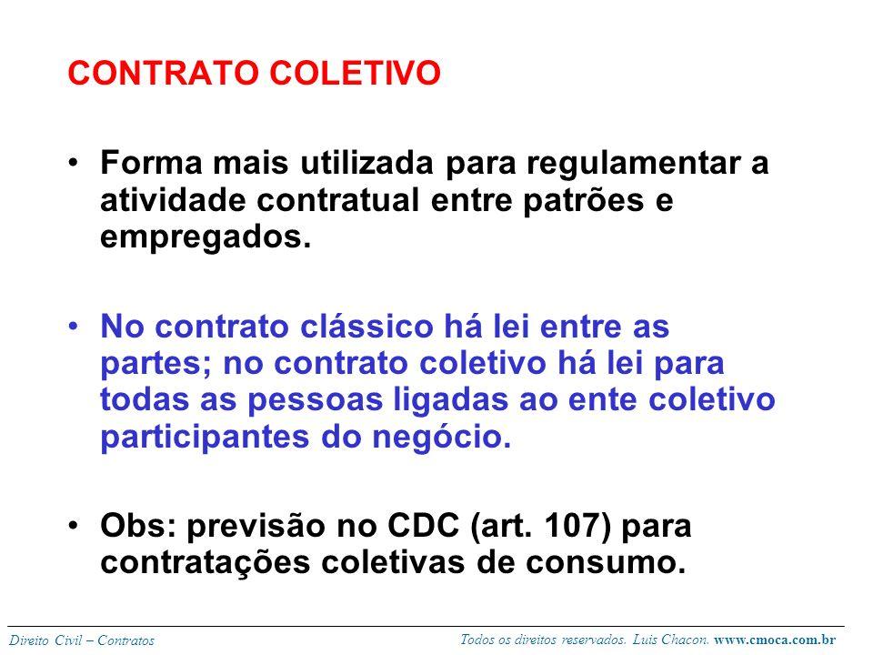 Todos os direitos reservados. Luis Chacon. www.cmoca.com.br Direito Civil – Contratos CONTRATO-TIPO Aproxima-se do de adesão por se tratar de cláusula