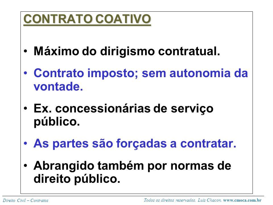 Todos os direitos reservados. Luis Chacon. www.cmoca.com.br Direito Civil – Contratos CONTRATO COLETIVO Forma mais utilizada para regulamentar a ativi