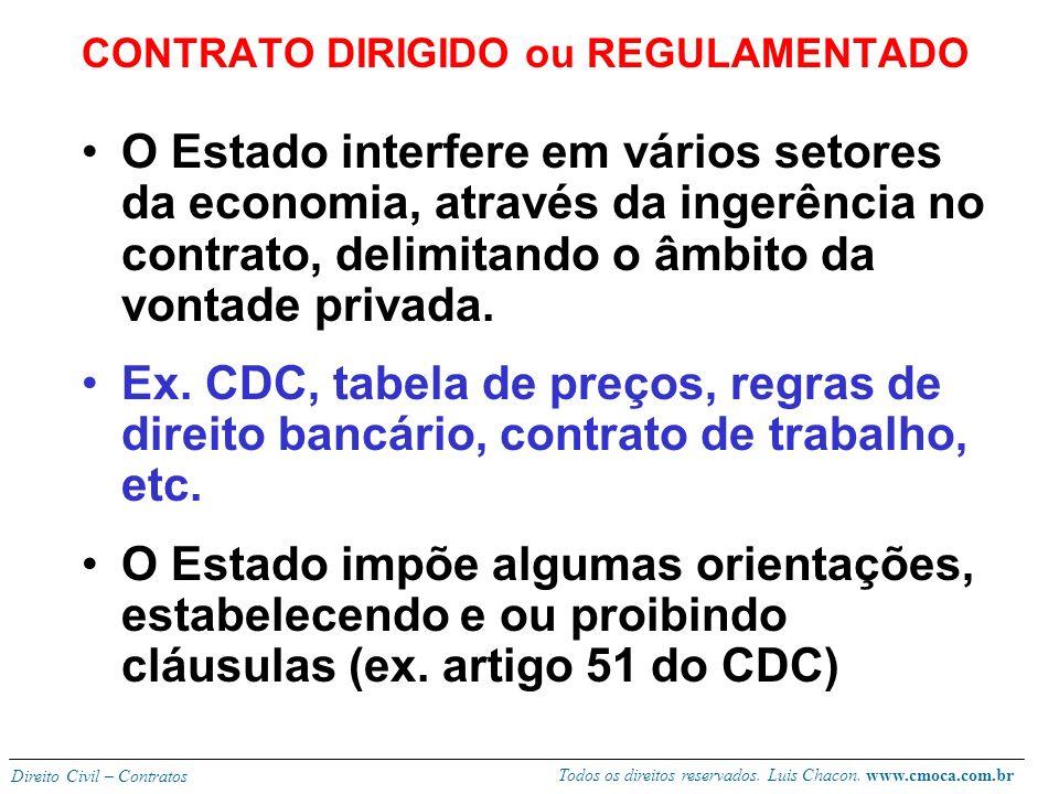 Todos os direitos reservados. Luis Chacon. www.cmoca.com.br Direito Civil – Contratos CONTRATO COATIVO Máximo do dirigismo contratual. Contrato impost