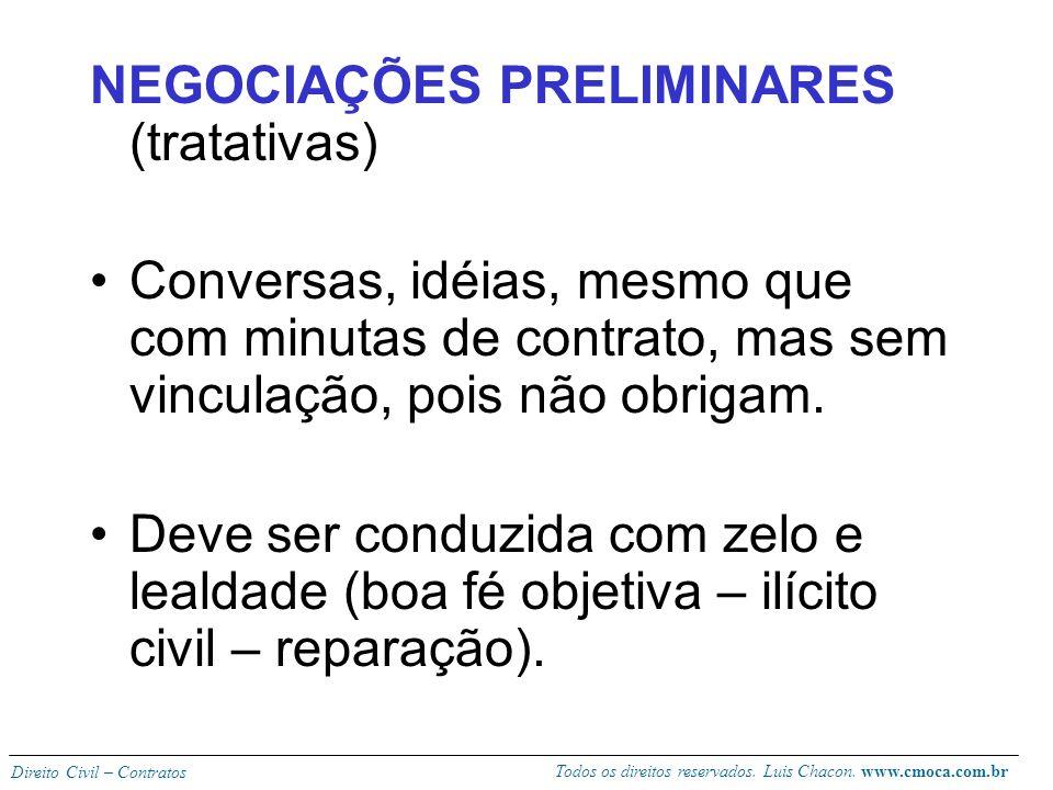 Todos os direitos reservados. Luis Chacon. www.cmoca.com.br Direito Civil – Contratos O contrato se forma quando as vontades coincidem no mesmo ponto
