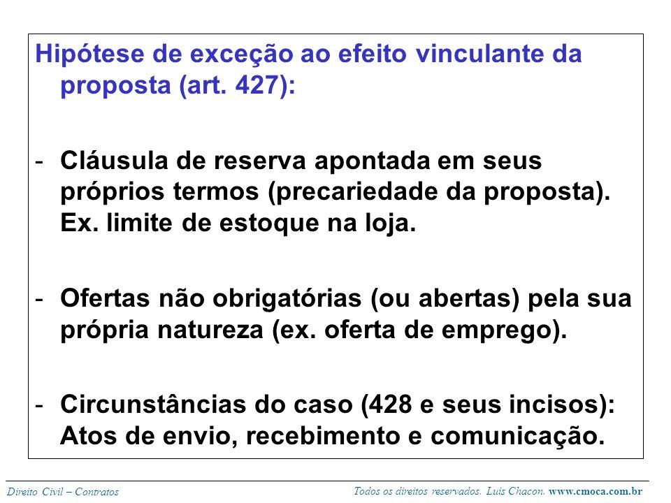 Todos os direitos reservados. Luis Chacon. www.cmoca.com.br Direito Civil – Contratos Obs: O CDC (art. 35) autoriza o oblato a pedir indenização cumul