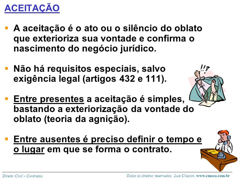 Todos os direitos reservados. Luis Chacon. www.cmoca.com.br Direito Civil – Contratos Hipótese de exceção ao efeito vinculante da proposta (art. 427):