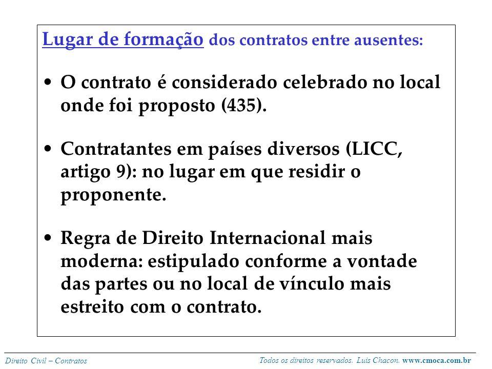 Todos os direitos reservados. Luis Chacon. www.cmoca.com.br Direito Civil – Contratos Entre ausentes o CC adota a teoria da expedição, mas de forma mi