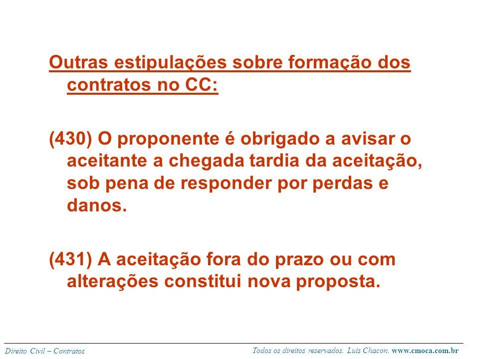 Todos os direitos reservados. Luis Chacon. www.cmoca.com.br Direito Civil – Contratos Lugar de formação dos contratos entre ausentes: O contrato é con