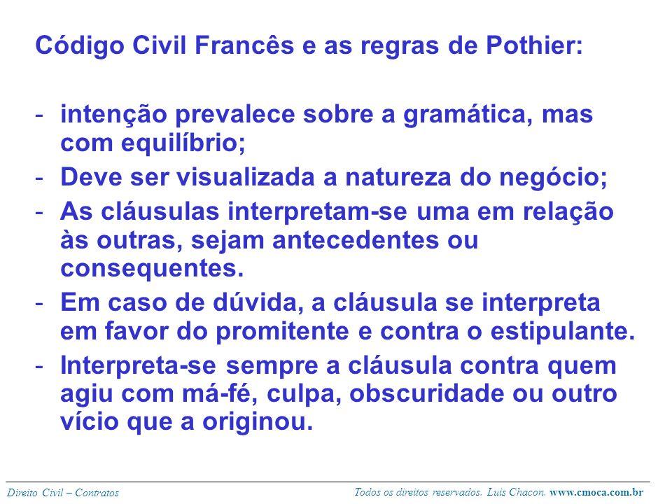Todos os direitos reservados. Luis Chacon. www.cmoca.com.br Direito Civil – Contratos A intenção das partes em confronto com o sentido da linguagem do