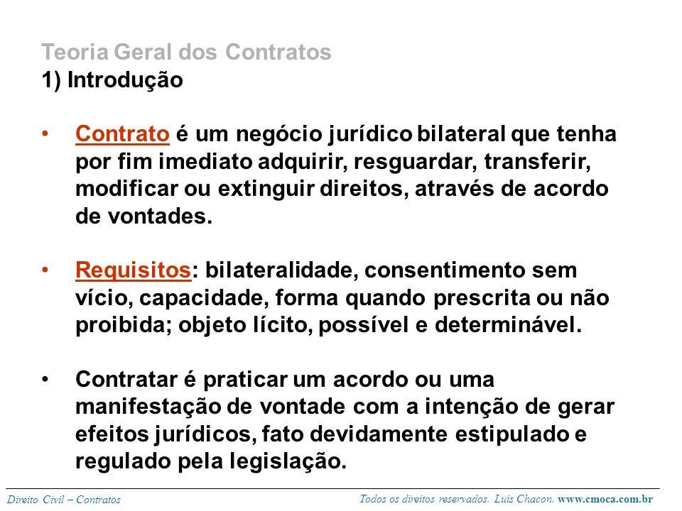 Todos os direitos reservados. Luis Chacon. www.cmoca.com.br Direito Civil – Contratos BIBLIOGRAFIA BÁSICA: Carlos Roberto Gonçalves. Direito Civil Bra