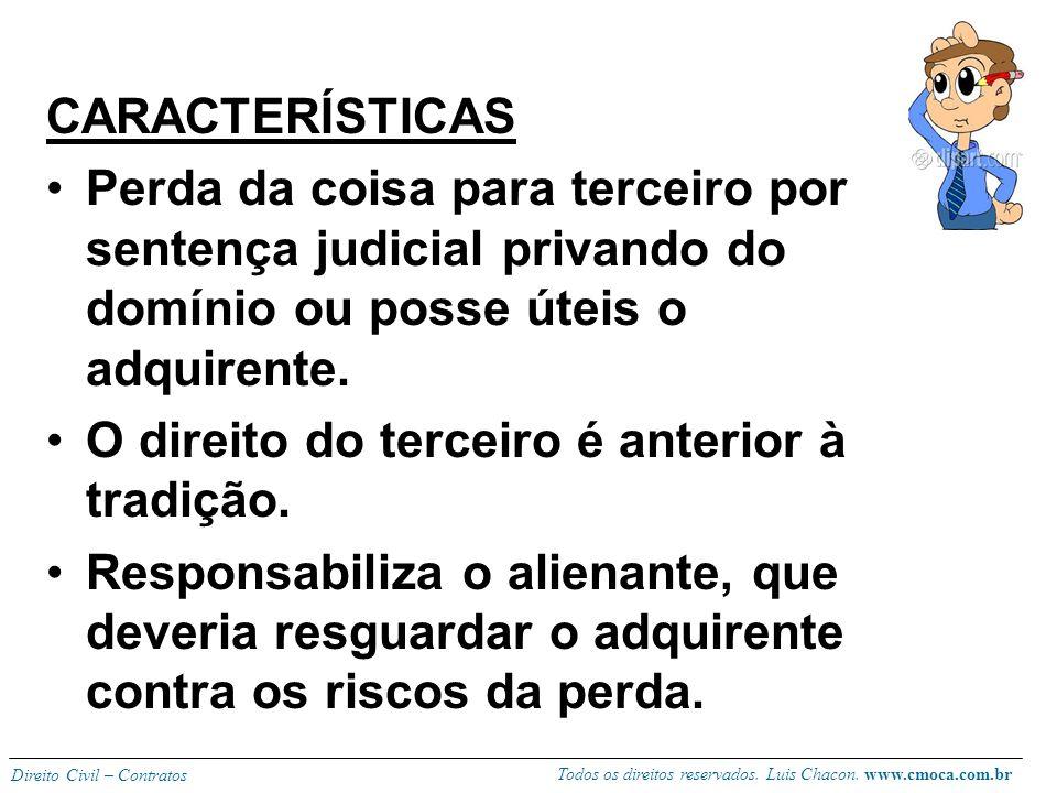 Todos os direitos reservados. Luis Chacon. www.cmoca.com.br Direito Civil – Contratos EVICÇÃO Vício redibitório é vício da coisa, defeito material do