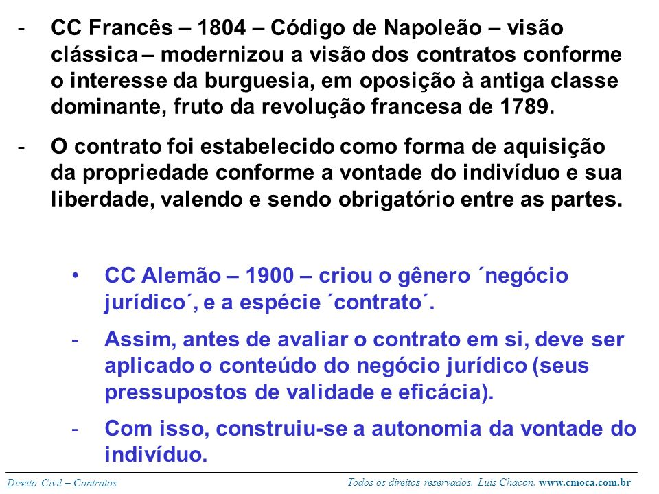 Todos os direitos reservados. Luis Chacon. www.cmoca.com.br Direito Civil – Contratos 2) antecedentes históricos (visão clássica) -Direito Romano – pr