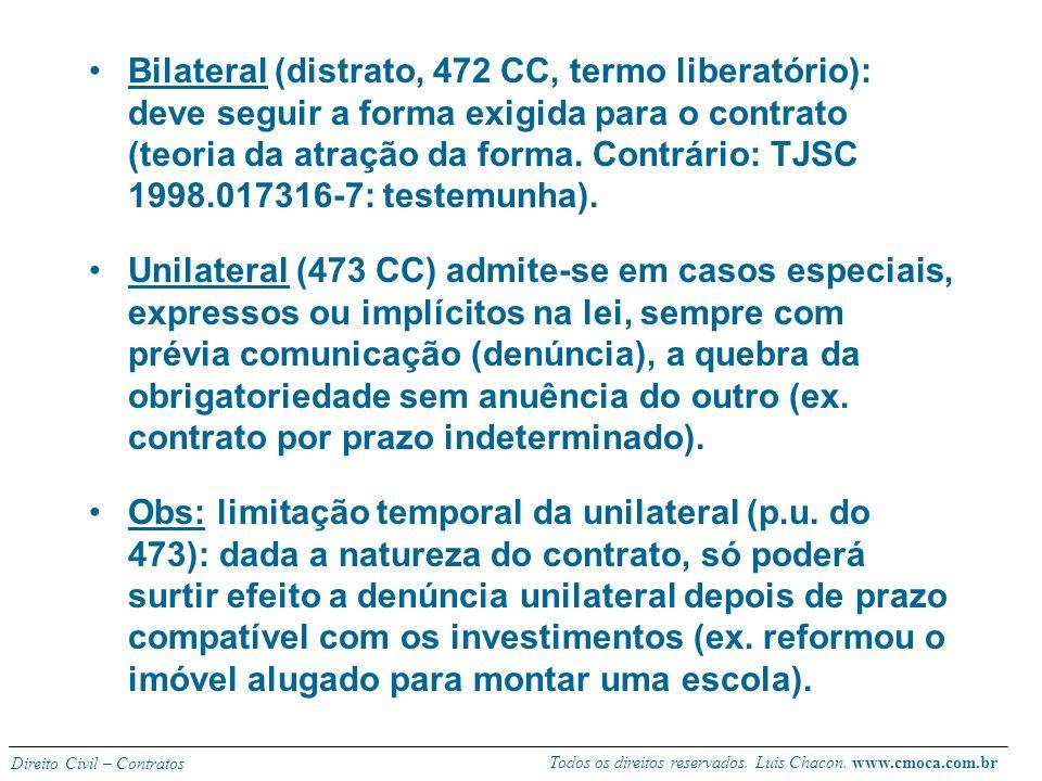 Todos os direitos reservados. Luis Chacon. www.cmoca.com.br Direito Civil – Contratos RESILIÇÃO VOLUNTÁRIA A vontade pode originar o vínculo, bem como