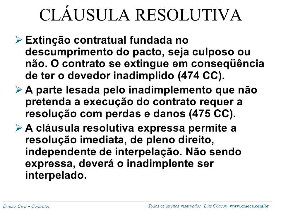 Todos os direitos reservados. Luis Chacon. www.cmoca.com.br Direito Civil – Contratos Bilateral (distrato, 472 CC, termo liberatório): deve seguir a f