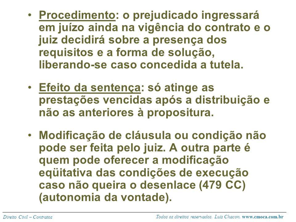 Todos os direitos reservados. Luis Chacon. www.cmoca.com.br Direito Civil – Contratos Requisitos: Vigência de contrato de execução diferida ou continu
